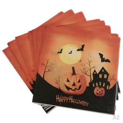 40pcs Pack Halloween Theme Paper Napkins Party Table Napkin Decoration - Halloween Themed Table Decorations