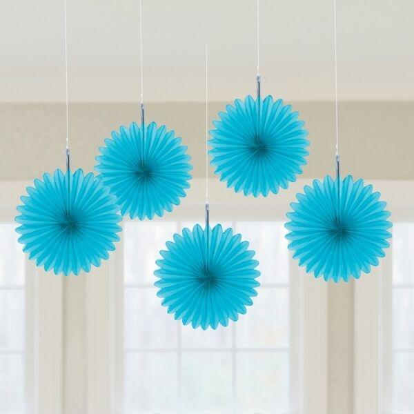 5 x Aqua Blue paper fans hanging decorations Caribbean Blue Party decorations
