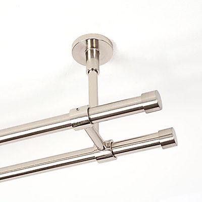 Gardinenstange edelstahloptik 2 läufig Deckenmontage Vorhang Endstück Standard