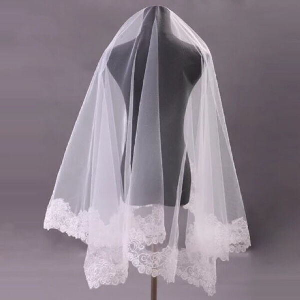 Organza Embroidered Lacey Edge Wedding Veil