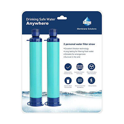 2pcs 4-Stage Portable Personal Water Filter Straw Purifier Camping Survival Tool