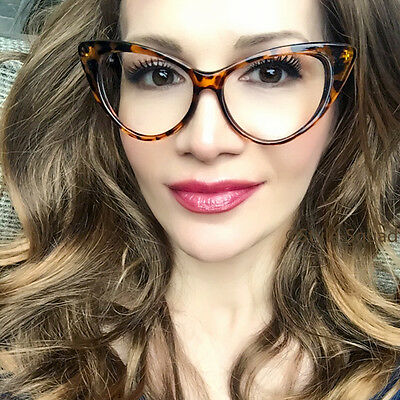 Hot Cat Eye Amber Brown Tortoise Clear Lens Glasses Big Eyeglasses Frames 1377 L (Big Glasses Frames)