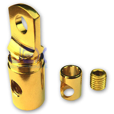"""5/16"""" Ring Terminal Power Connector 4ga 1/0ga Gold Plated Ground/Positive"""