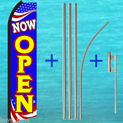 Now Open Swooper Flag Pole Mount Kit Tall Curved Flutter Feather Banner Sign