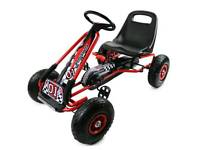 Red Kids Childrens Pedal Racing Go Kart Ride On Rubber Wheels