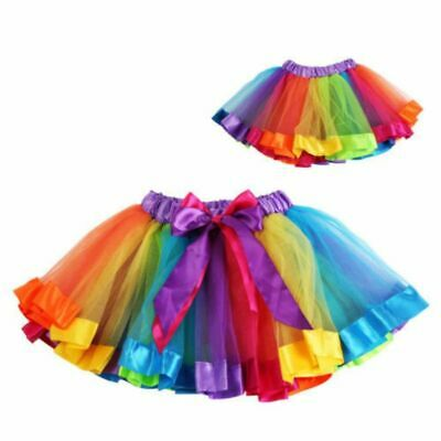 Toddler Rainbow Costume (Toddler Baby KidS GirlS Rainbow Bow Tutu Skirt Tulle Dance Ballet Dress)