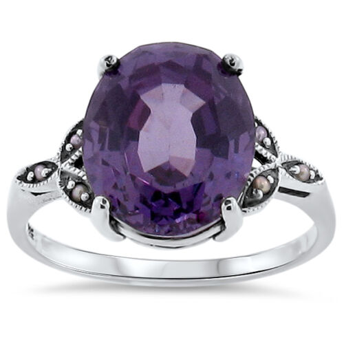 6.5 CT COLOR CHANGING LAB ALEXANDRITE .925 SILVER VICTORIAN DESIGN RING,    #139