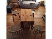 Dropleaf Pine Table plus 4 chairs