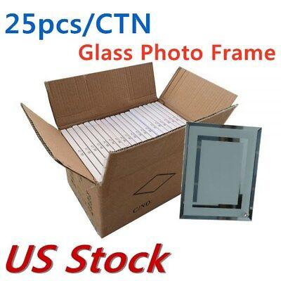 Us Stock 8 Sublimation Blank Glass Photo Frame Double Mirror Border