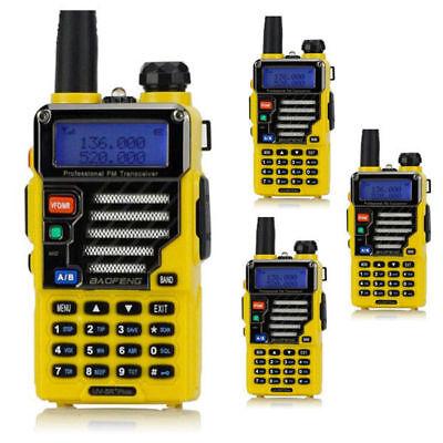 4x BaoFeng UV-5R Plus Qualette Series Yellow + Earpiece 20M/70CM Ham 2-way Radio 4' Plus Series 2 Way