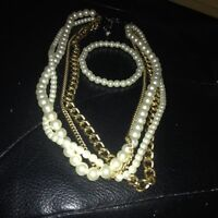 """18.5 """"inch Necklace with 4 layers 2 Pearl like white beads,"""