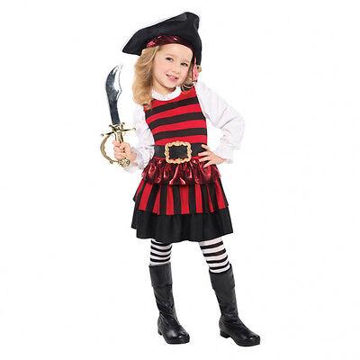 Pirat Kostüm Hut Strümpfe Piratin Mädchen Karneval Kinder Gr.  104 110 - Mädchen Kostüm Hut