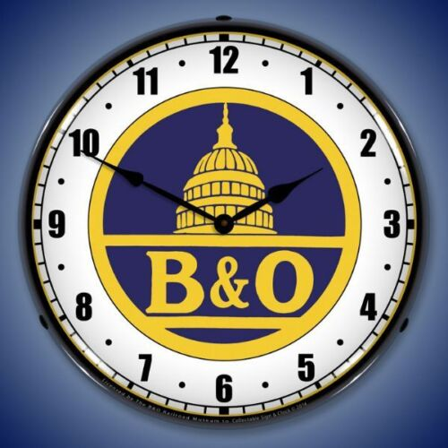 New B & O Baltimore Ohio LIGHT UP  advertising train clock American Made  🚂🚂