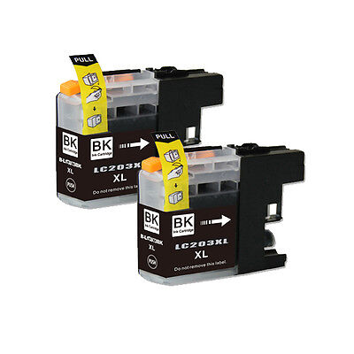 2 BLACK Printer Ink with chip for Brother LC201 LC203XL MFC