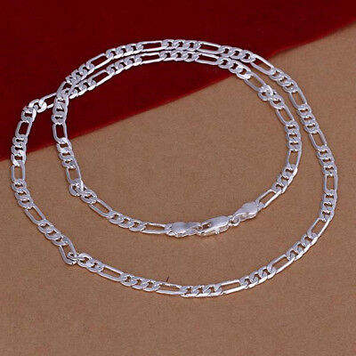 (Mens Womens 925 Sterling Silver 4mm Figaro Link Chain 16