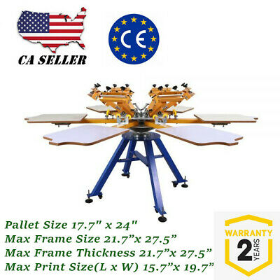 Us 6 Color 6 Station Screen Printing Machine Press T-shirt Printer Carousel