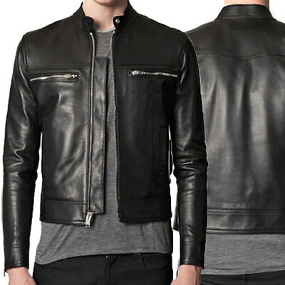 DE Herren Lederjacke Biker Men's Leather Jacket Coat Homme Veste En cuir R39a