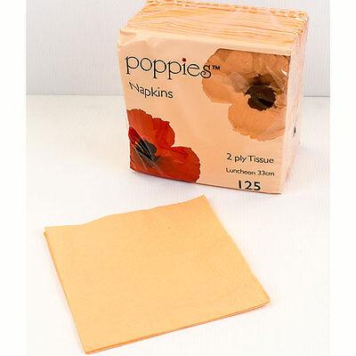 Peach Party Supplies (125 x Peach Paper Tea Napkins/Serviettes 33cm - 2ply-Party Supplies)