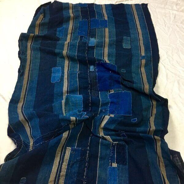 1800s Japanese Scarf Shashiko Boro Patched Patchwork Cotton Indigo Antique Old