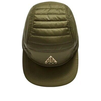 NIKE ACG / LMTD QUILTED 5 PANEL HAT / OLIVE OSFM / ADJUSTABLE CORD / TAPED SEAMS