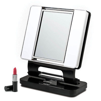 Ott Light Magnifier - Ott Lite Natural 5X-1X Lighted Magnifying Makeup Mirror: Black, Makeup, Beauty