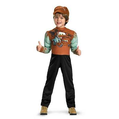 NWT DISNEY PIXAR CARS 2 Tow Mater Costume Muscle Arms & Hat Cap M 4-6 Halloween