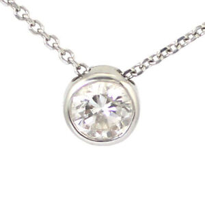 14k White Gold Diamond Pendant, 0.50ct (estate bezel) #3568