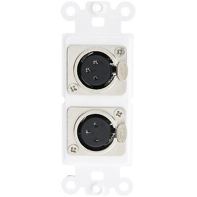 Decora Wall Plate Insert, White, Dual XLR Female to Solder Type  301 -