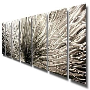 Modern Abstract Metal Art Wall Sculpture - Silver Plumage - Artist Jon Allen