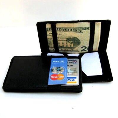 BLACK LEATHER MAGIC WALLET Ticket Thin Safely Holder Sling Front Pocket