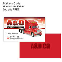 1000 Hi-Gloss UV Coated Business Cards for $18.98