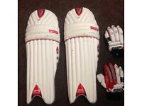Slazenger cricket pads and gloves right hand hardly used