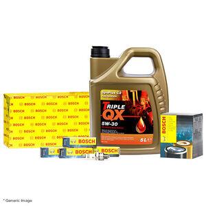 Bosch Oil & Air Filter W/ Triple QX C1 5W30 Engine Oil 5L & 4 Bosch Spark Plugs