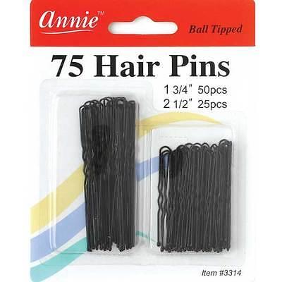 """Annie 75 Hair Pins Ball Tipped Bobby Pin Grip Clips 1 3/4"""" & 2 1/2"""" Black #3314"""