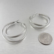 Brushed Silver Hoop Earrings
