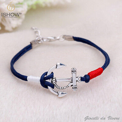 Blue Cord Anchor Shaped Bracelet Silver Mariner Men's Bracelet Nautica Navy BKL Nautica Mens Bracelets