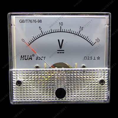Dc 20v Analog Voltmeter Panel Pointer Volt Voltage Meter Gauge 85c1 0-20v Dc