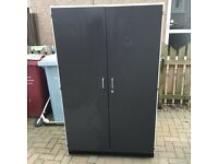 Double door cupboard/wardrobe. grey/white