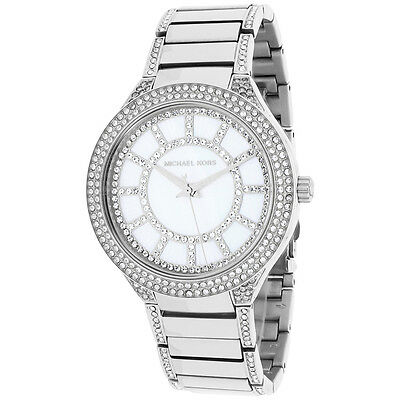Michael Kors MK3311 Silver Tone Kerry Mother of Pearl Crystal Accent Wrist Watch