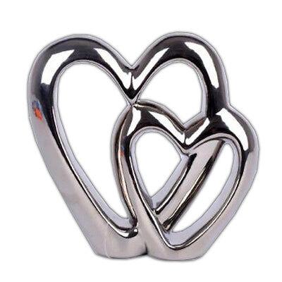 DOUBLE HEART CHROME ORNAMENT FREE STANDING VALENTINE LOVE WEDDING GIFT DECOR