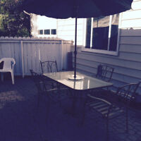 Patio Set with Table, Umbrella and Base, 6 chairs, Coffee Table