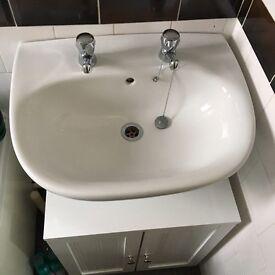 Wash basin and cupboard storage