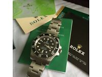 Submariner ETA mens Automatic watch Rolex boxed with papers