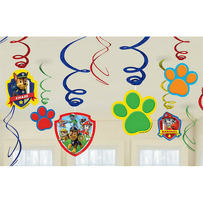 Paw Patrol Swirl Decoration Birthday Party Supplies Dangler Pack of 12 - Paw Patrol Decorations