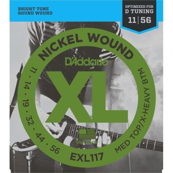 D'Addario EXL117 Electric Guitar Strings- Optimised For Drop D Tuning, 11-56