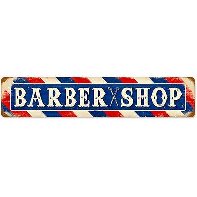 Barber Shop Scissors Metal Header Sign Vintage Distressed Business Decor 28 x 6