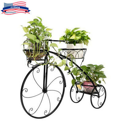 Bicycle Plant Stand Wrought Iron Tricycle Planter Home Garden Patio Decor -