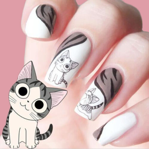 2Sheets-3D-Black-Cute-Cat-Design-Nail-Art-Sticker-Manicure-Decal-Tips-Decoration
