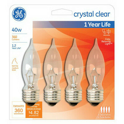 (GE Lighting 76230 Bent Tip CA10 Medium Base Bulb, Crystal Clear, 40W, 4-Pack)