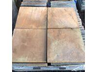 17x 450x450mm buff riven effect garden patio slabs